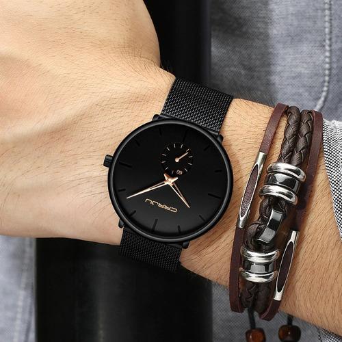 frete grátis relógio crrju 2150 ultra fino pronta entrega