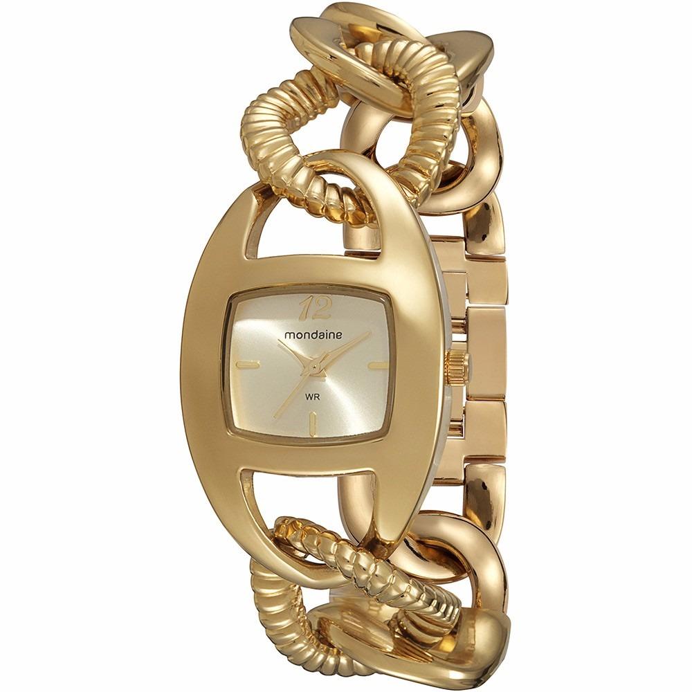 07cd4fd8364 frete grátis relógio feminino mondaine corrente dourado. Carregando zoom.