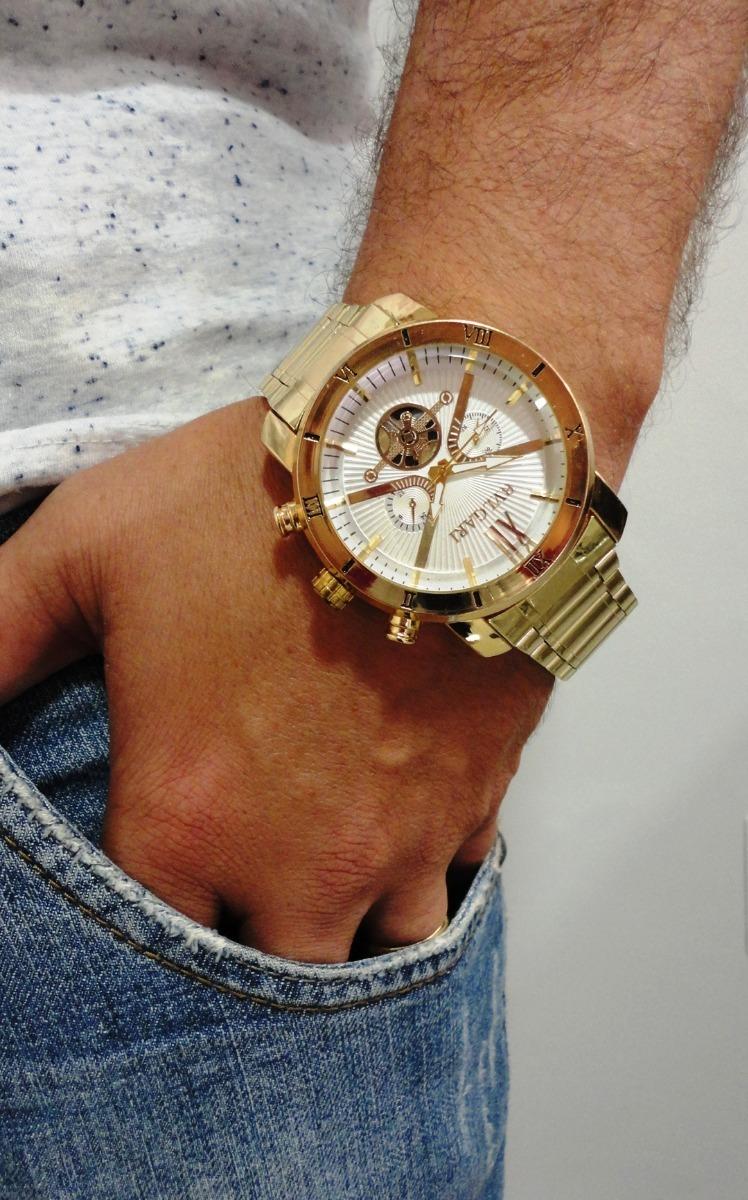 cc30ad51cf1 frete gratis relógio grande dourado para homem moderno. Carregando zoom.