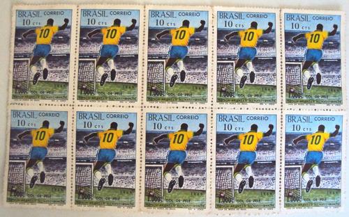 frete grátis: selos do milésimo gol de pelé 1969 10 unidades