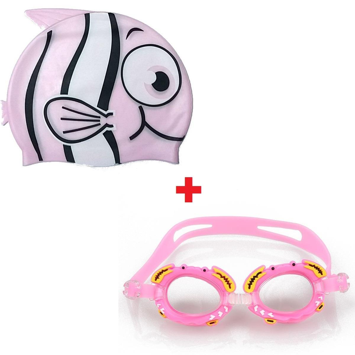 frete grátis touca infantil + óculos nadador infantil menina. Carregando  zoom. 0da1fee082