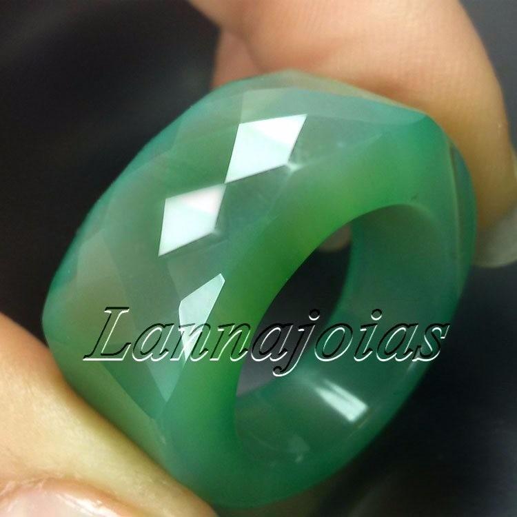 26dea1a31e7 Fretegráts Anel Pedra Total Ágata Verde Frente Multifacetada - R  100