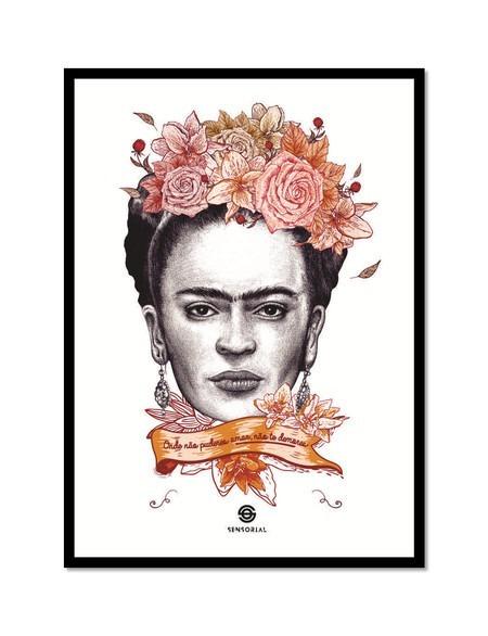 Frida Kahlo Frase Amor Poster Com Moldura Medio S Vidro R 77
