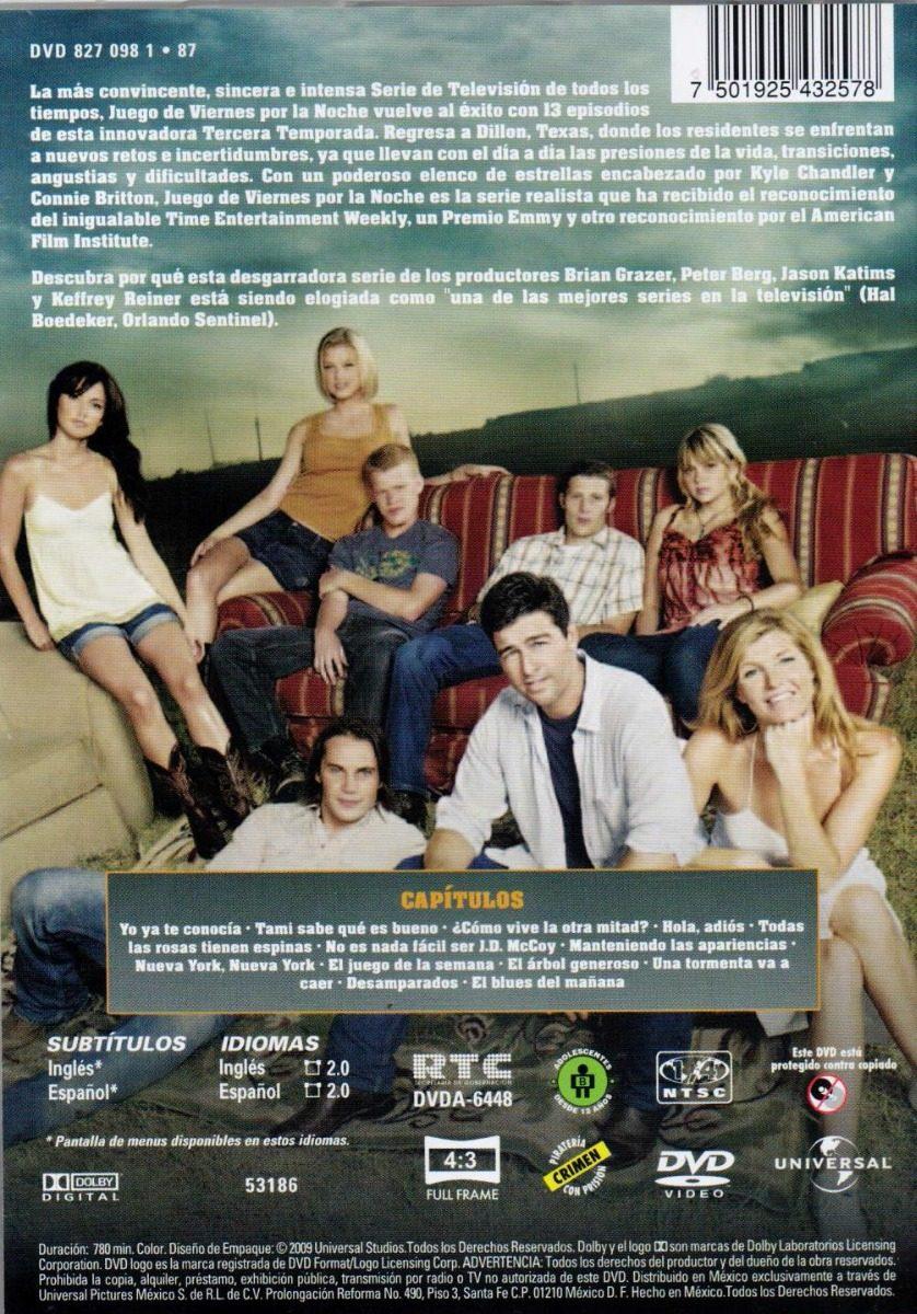 Friday Night Lights Juego Viernes Noche Temporada 3 Tres Dvd ...