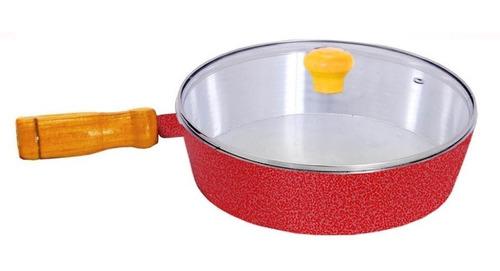 frigideira aluminio batido craqueado vermelho c/ tampa vidro
