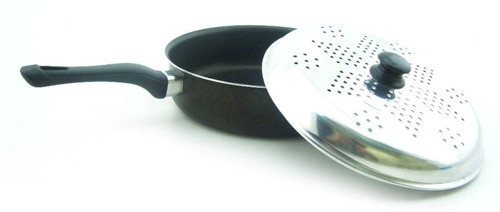 frigideira forte teflon antiaderente tampa d alumínio furado