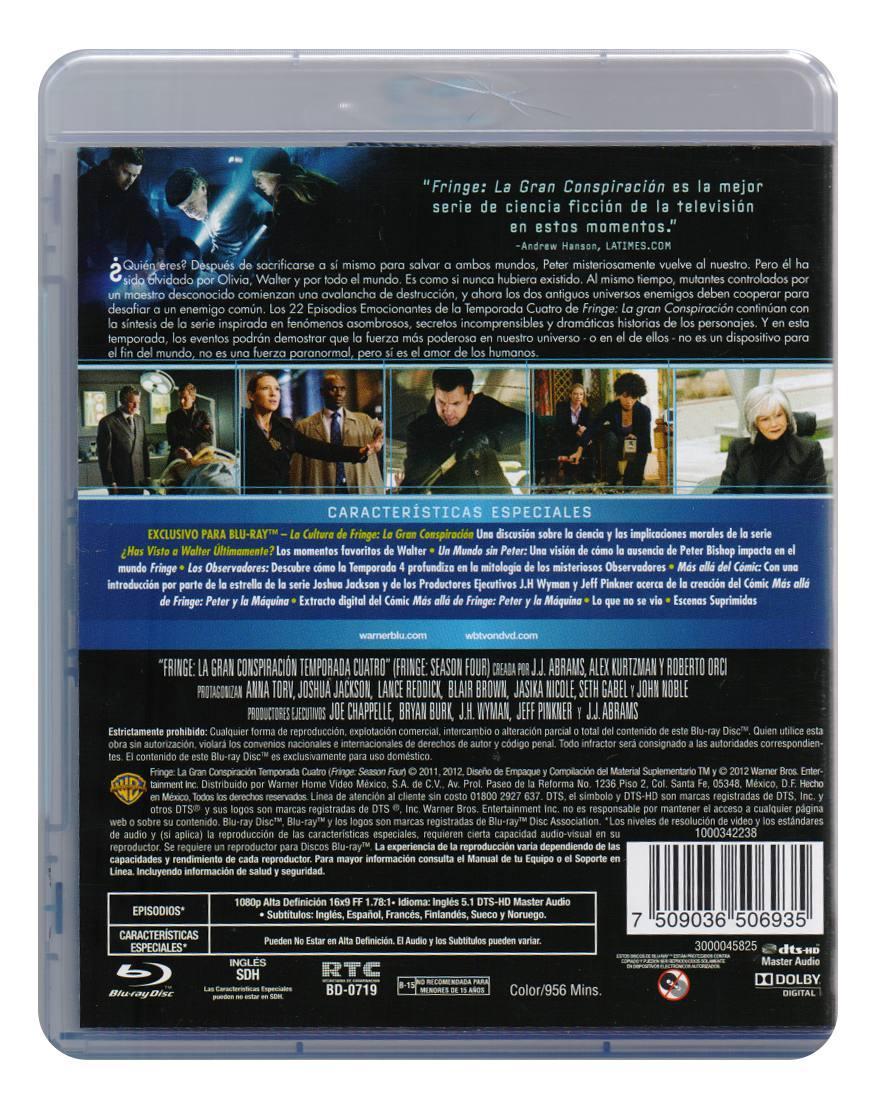 Fringe Cuarta Temporada 4 Cuatro Blu-ray - $ 339.00 en Mercado Libre
