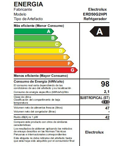 friobar electrolux 50 lt frost 1 puerta inox erd50g2hpi