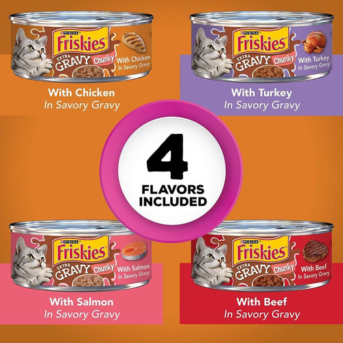 friskies extra gravy chunky adulto mojado paquete de varied