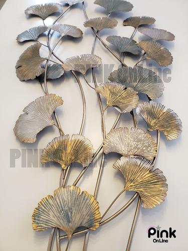 friso cuadro de pared metalico adorno hojas secas