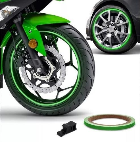 friso de roda refletivo 6mm aplicador adesivo verde 1005