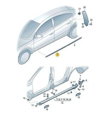 friso decorativo dianteiro direito passat cc  3c8853072a2zz