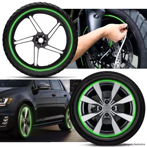friso faixa 6mm adesivo refletivo roda fita moto carro verde