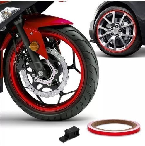 friso faixa 6mm adesivo refletivo roda fita moto vermelho