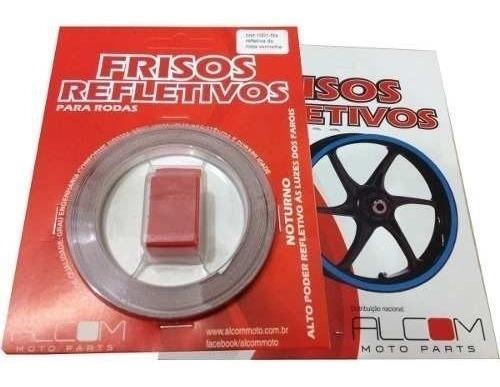 friso faixa adesivo refletivo roda moto carro vermelho 1001