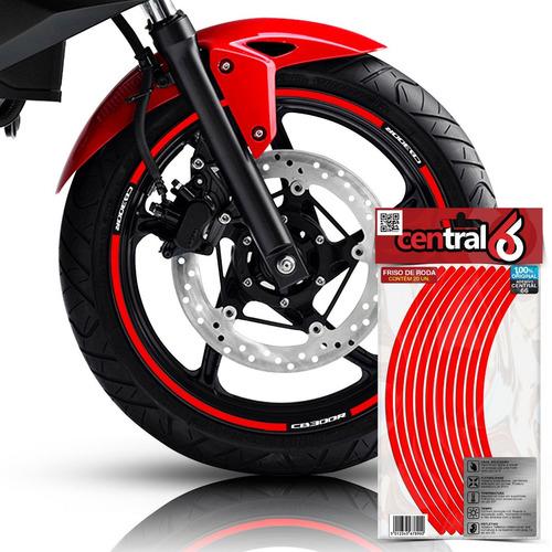 friso honda cb 300r vermelho refletivo adesivo filete roda