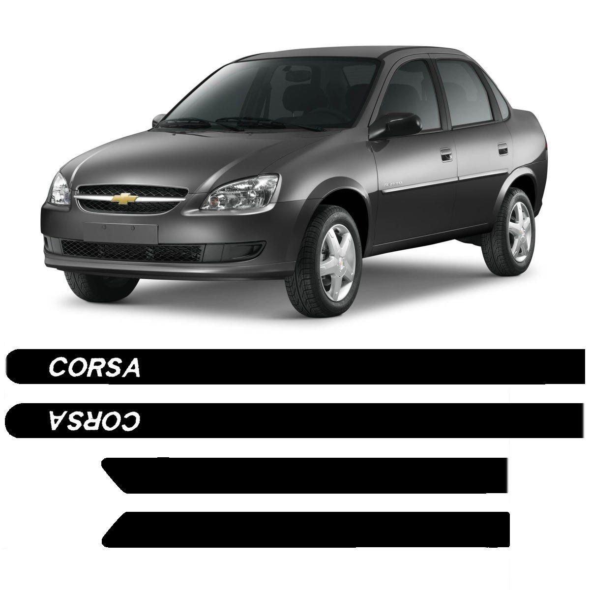Friso Lateral Gm Corsa Sedan Personalizado Preto R 157 94 Em