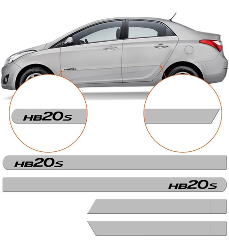 friso lateral hyundai hb20 sedan branco polar cor original