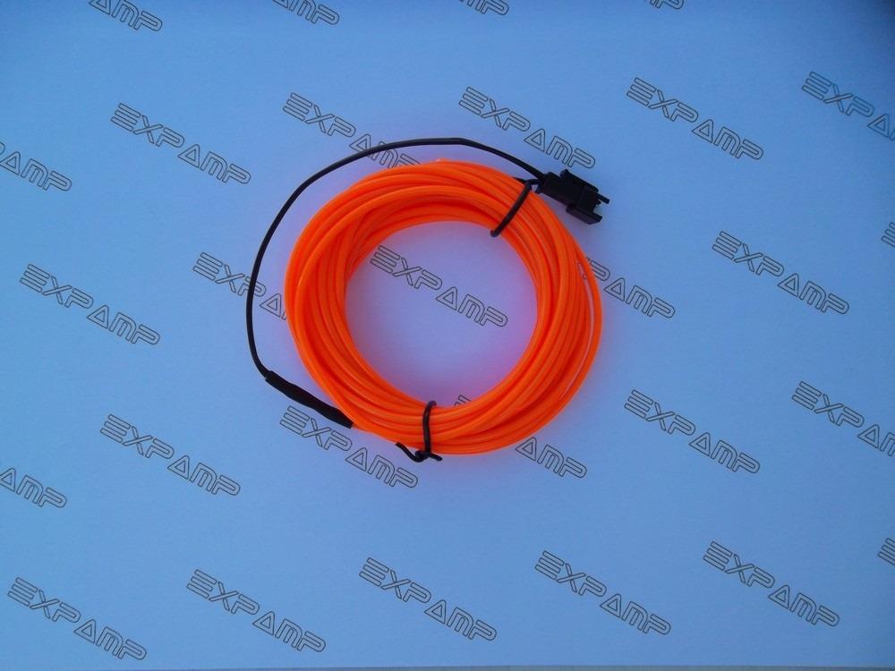 Friso Luz Neon Fio Led - 5 Metros - El Wire 12v - Laranja - R$ 60,49 ...