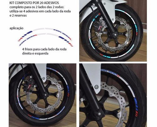 friso refletivo adesivo 3d relevo roda moto honda cbr 500 r