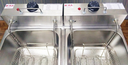 fritadeira industrial elétrica 2 cubas 12 litros tampa 220v