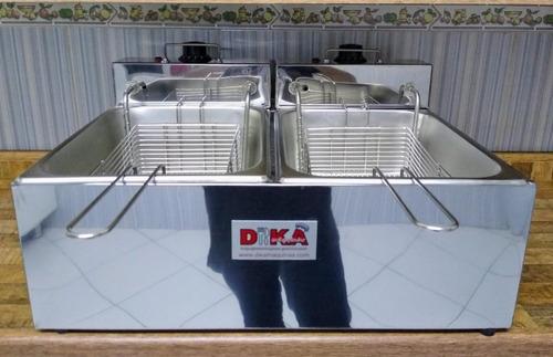 fritadeira inox dupla 12 litros duas cubas elétrica