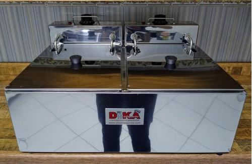 fritadeira inox elétrica dupla profissional 12 litros tampa