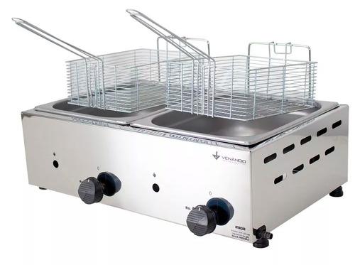 fritador gás óleo inox 2 cuba 10l venâncio fritadeira sfg212