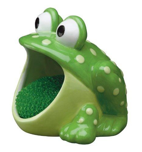 frog scrubby holder with non-scratch dish scrubber, pintado