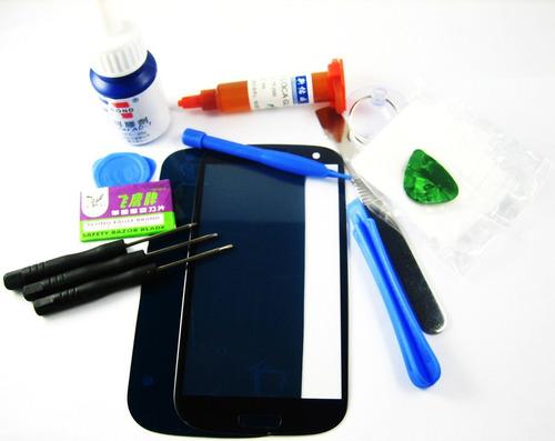 front glass +glue+tools samsung galaxy s3 i9300 i9305~blue