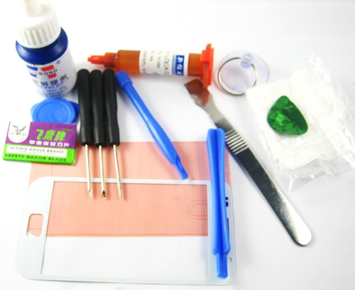 front glass +glue+tools set samsung galaxy s i9000~white