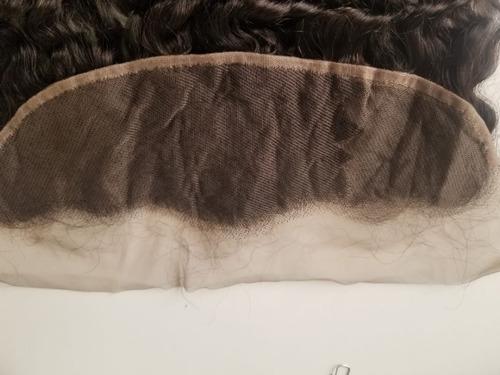 front lace humana closure de orelha a orelha cacheada  40cm