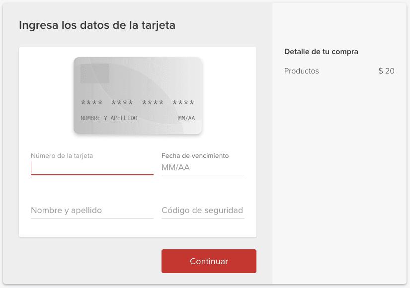 Interfaz personalizada Mercado Pago Web Tokenize Checkout