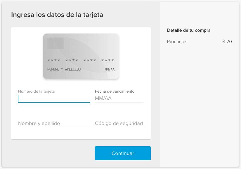 Interfaz por defecto Mercado Pago Web Tokenize Checkout