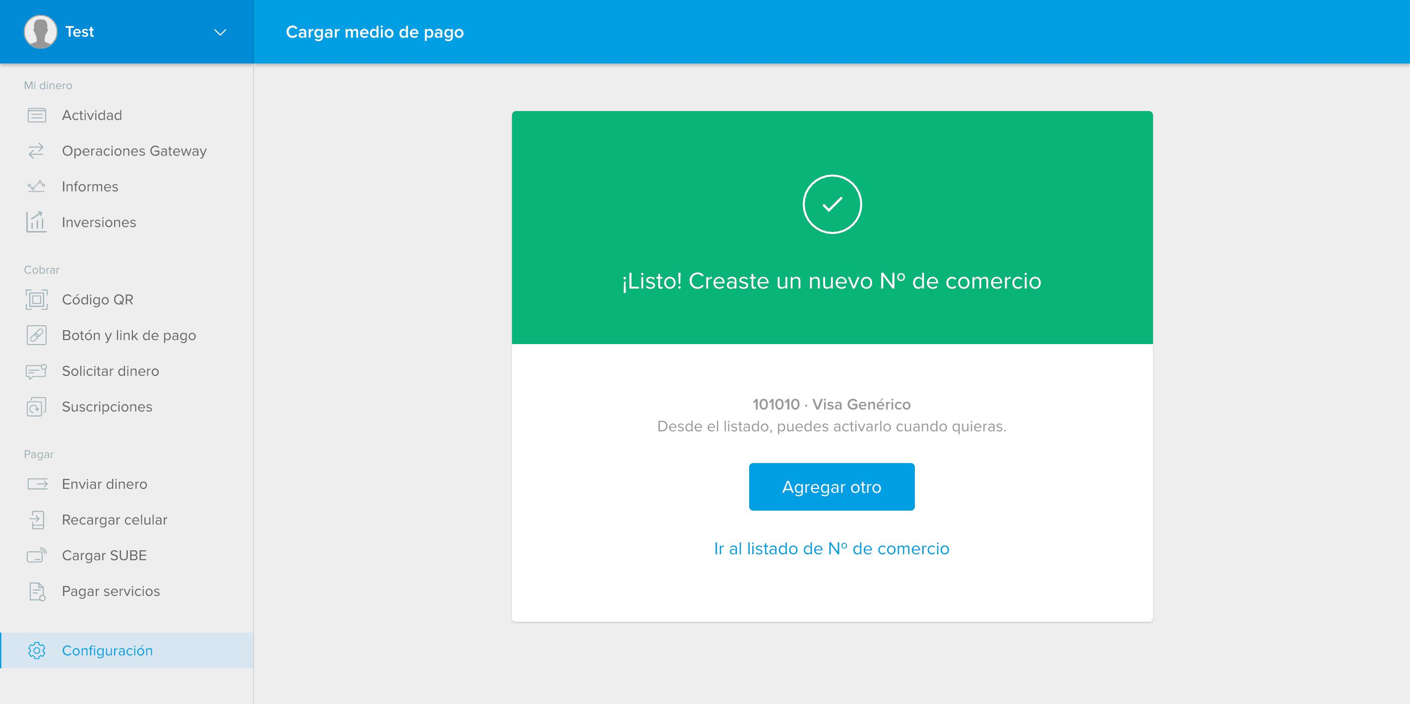 Merchant ID created