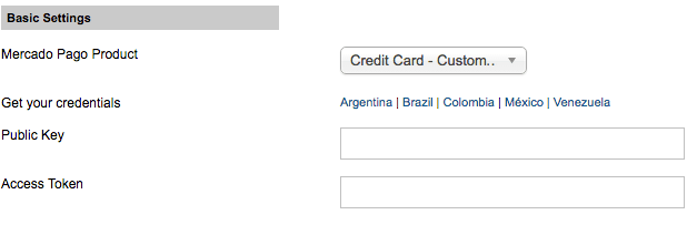 Settings credentials - Transparent checkout - Credit card