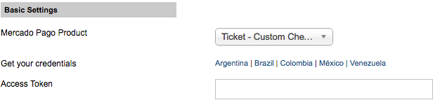 Settings credentials - Transparent checkout - Ticket