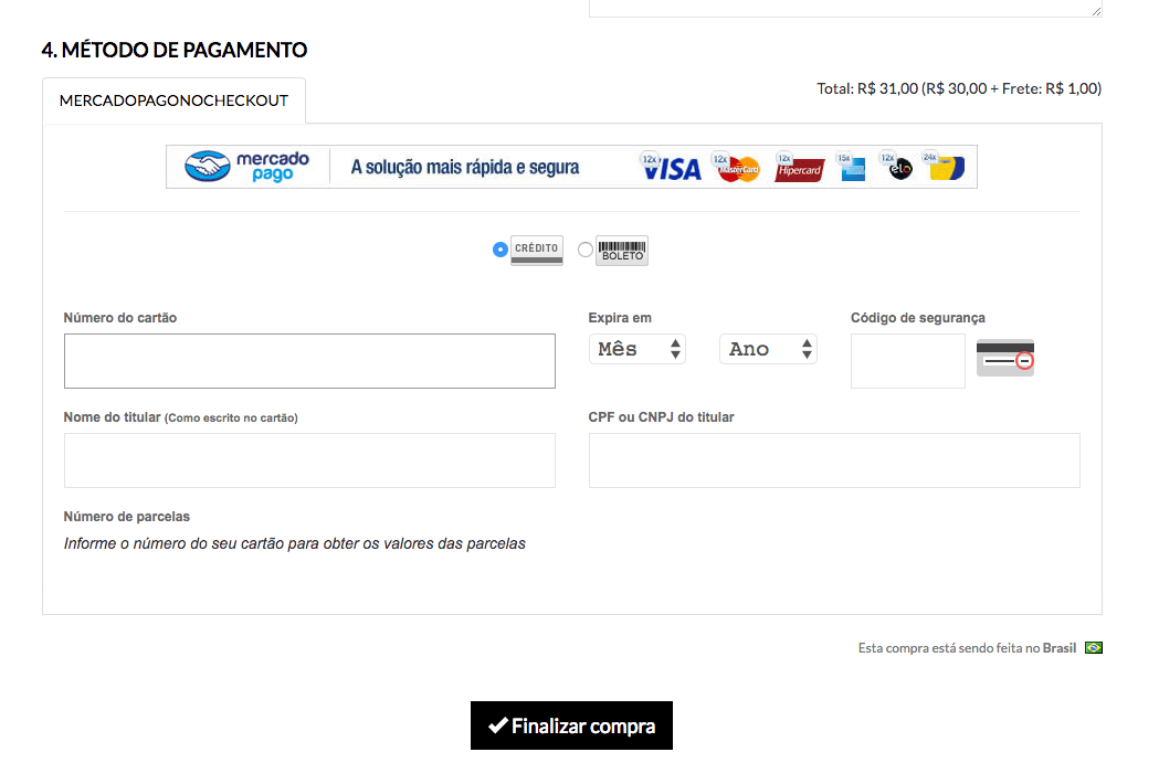 Setting up payment method - Credit card