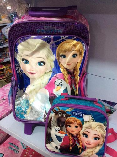 frozen kit mochila de rodinha com lancheira