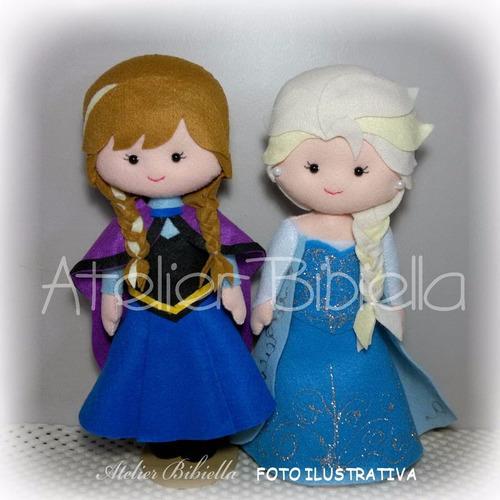frozen new da bibiella - anna e elsa 30cm / olaf 25cm feltro