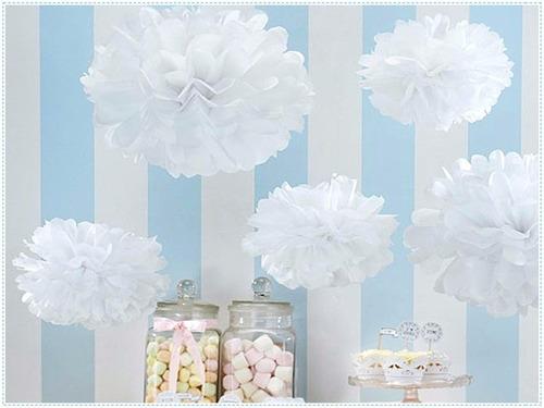 frozen pompom decoração branco 30cm pronta entrega