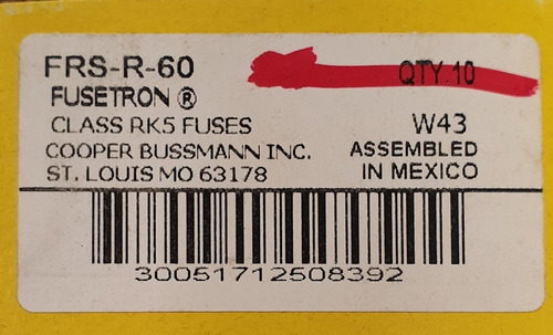 frs-r-60 bussmann fusible 60a 600v