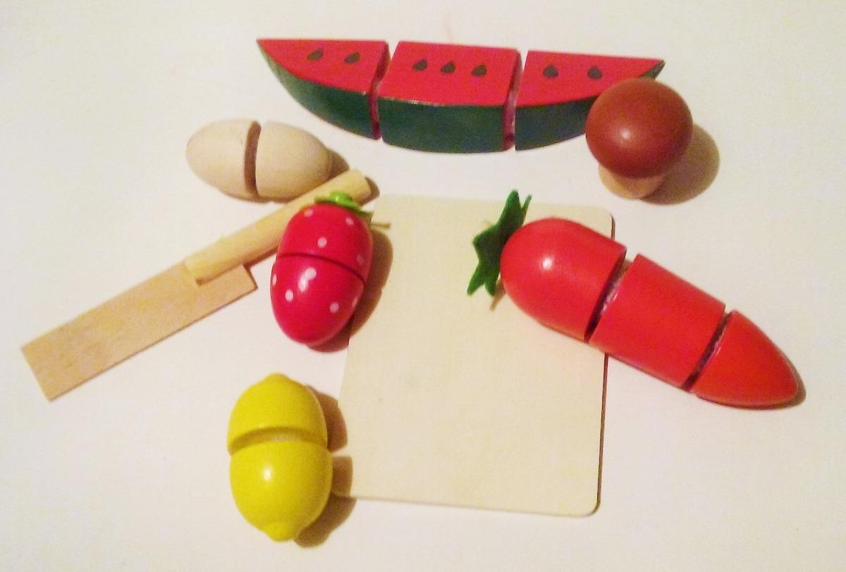 fruta con velcro de madera juguetes didcticos
