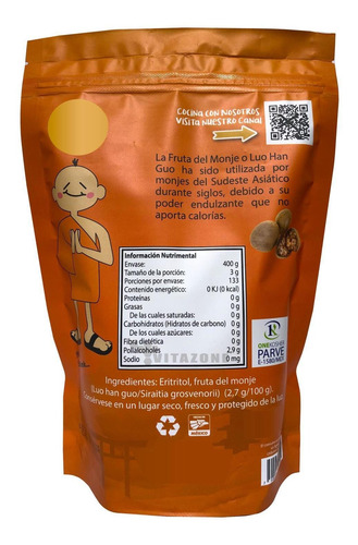 fruta del monje sustituto de azúcar 400 gr 2 sobres