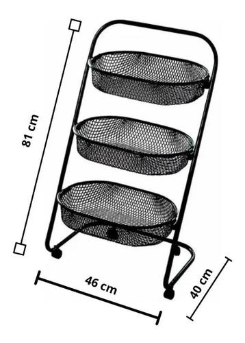 fruteira de chão 3 cestos carrinho multiuso organizador