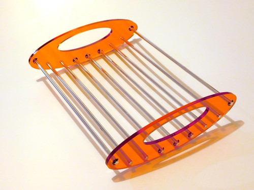 frutera centro de mesa diseño retrofuturista acrílico alum