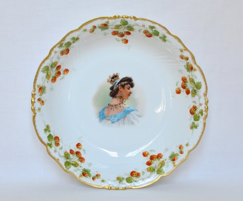frutera centro de mesa porcelana u. c. limoges retrato real
