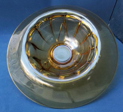 frutera  centro de mesa vidrio color caramelo antiguo y raro