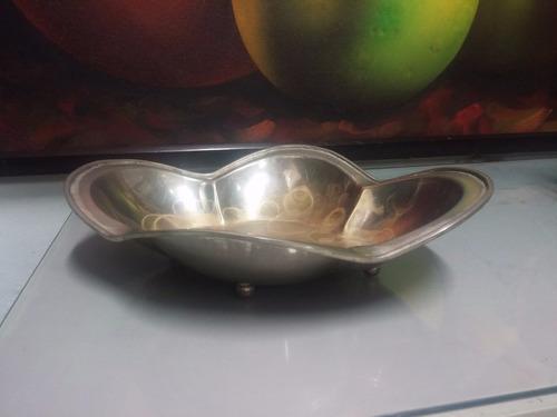 frutero antiguo bronce con baño de plata italiano