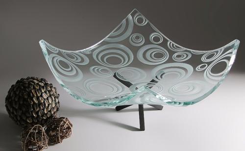 frutero / centro de mesa de cristal círculos grabado a mano